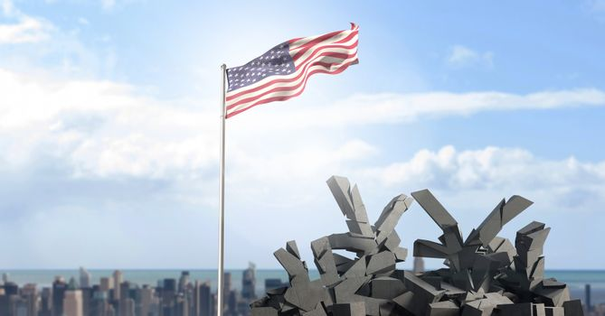 American flag in cityscape