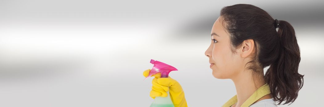 Cleaner with spray with bright background