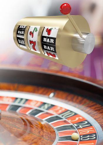 Casino slot machine in front of roulette