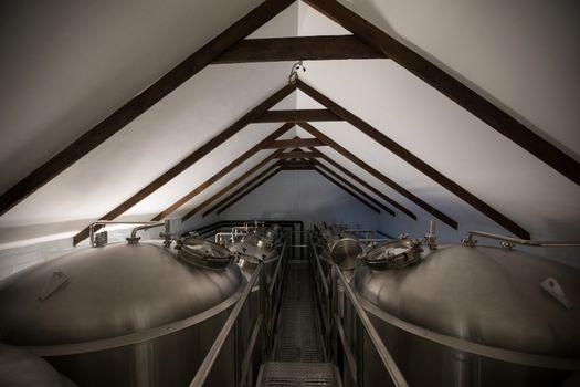 Steel vats in brewery