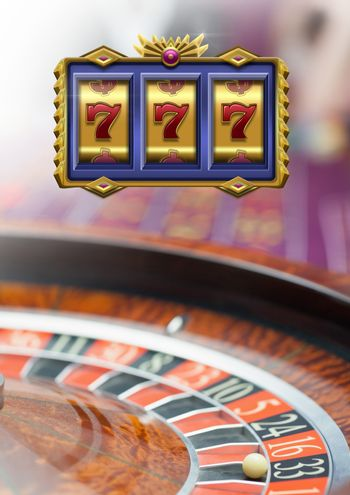 Casino slot machine 7's in front of roulette
