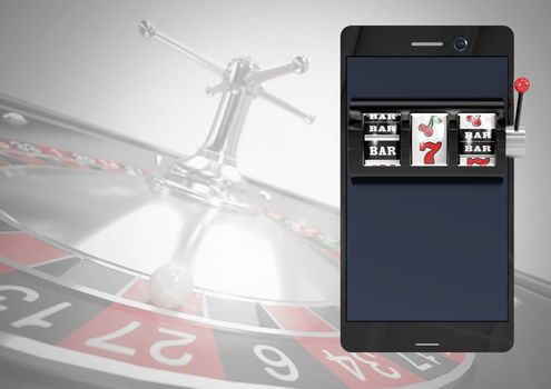 Phone with slot machine and roulette background