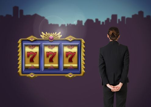 Back of Woman Looking at casino  slot machine