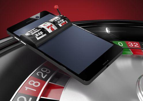 Casino slot machine on phone over roulette