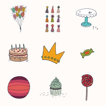Vector set of various birthday celebration icons