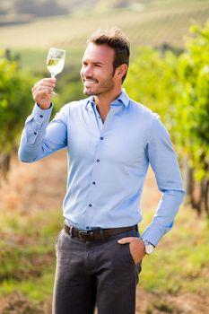Man holding wineglass