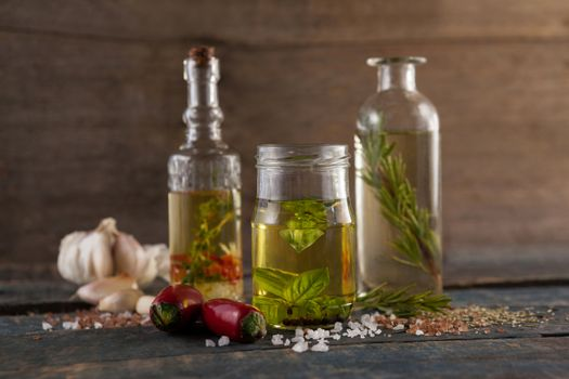 Ingredient by herb with oil in container