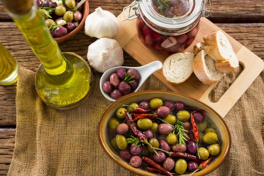 Marinated olives with ingredient and breakfast