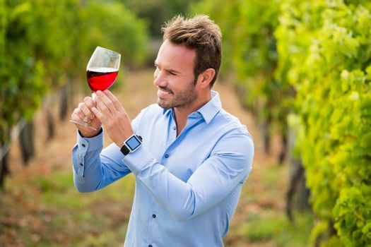 Smiling man holding wineglass