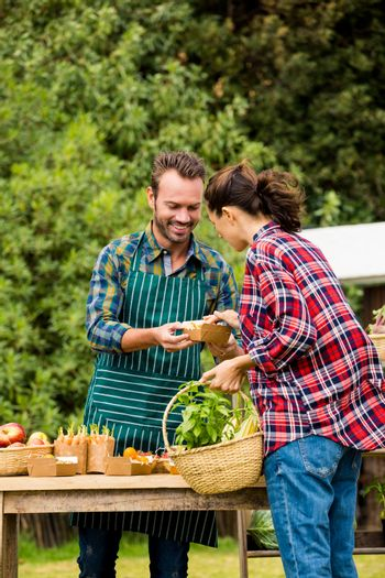Man selling organic vegetables to woman