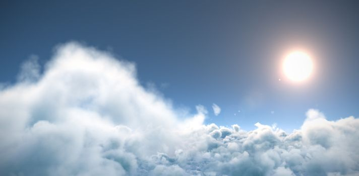 Idyllic view of sun over cloudscape during sunny day