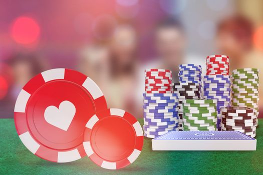 Composite image of vector 3d image of red casino token with hearts symbol