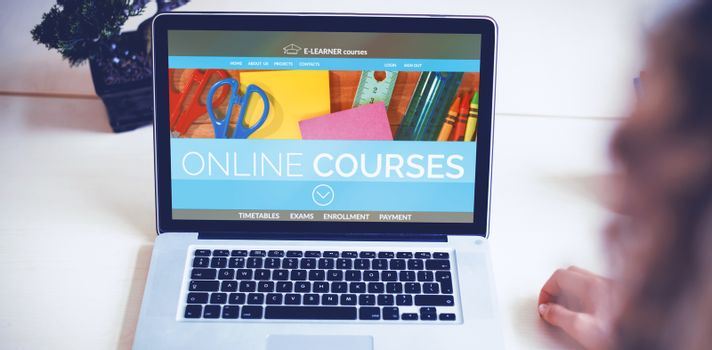 Computer generated 3D image of online education interface on screen against business executives using laptop
