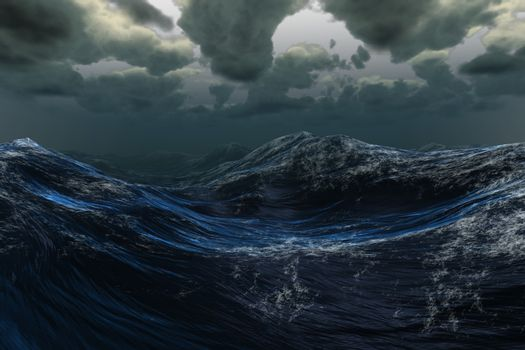 Stormy sea under dark sky