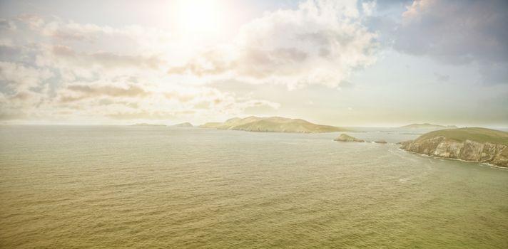 Idyllic view of ocean against sky