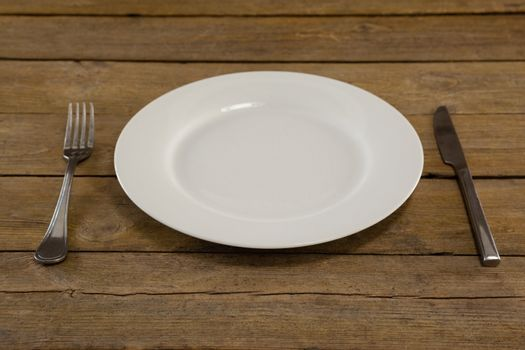 White plate with cutlery