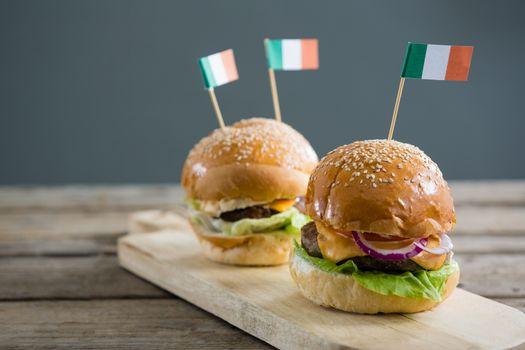 Close up of burgers with Irish flag