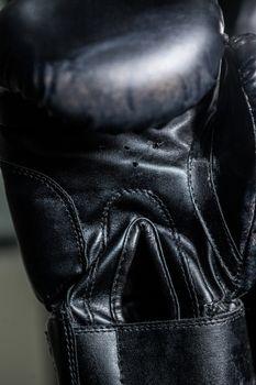 Boxing glove in fitness studio