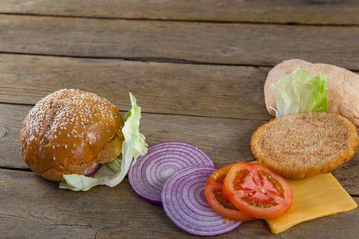 Sliced vegetables ingredient for making hamburger