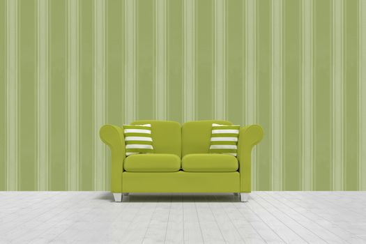 Composite image of 3d illustration of green sofa with cushions on floor