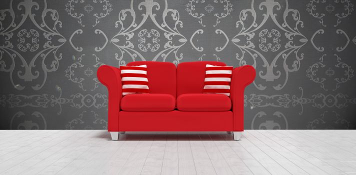 Composite image of 3d illustration of red sofa with cushions