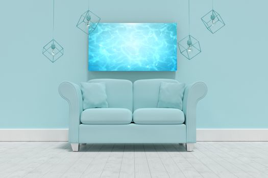 Composite image of 3d illustration of empty blue sofa with cushions