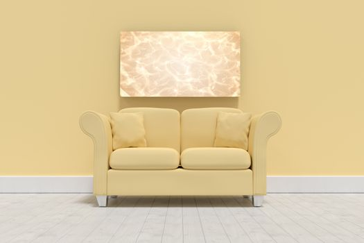 Composite image of 3d illustration of yellow sofa with cushions on floor