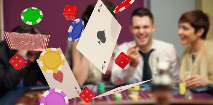 Composite image of 3d image of playing cards with casino tokens and dice