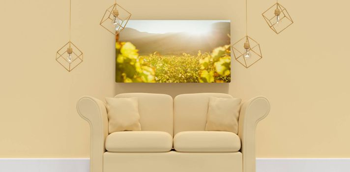 Composite image of 3d illustration of yellow sofa with cushions