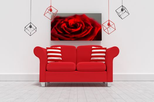 Composite image of 3d illustration of empty red sofa with cushions