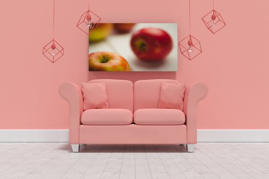 Composite image of 3d illustration of empty coral sofa with cushions