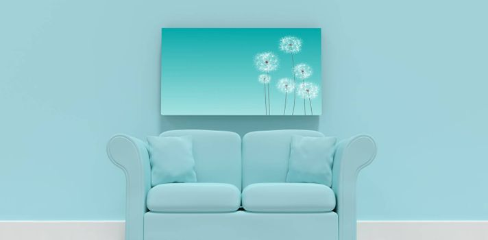Composite image of 3d illustration of blue sofa with cushions