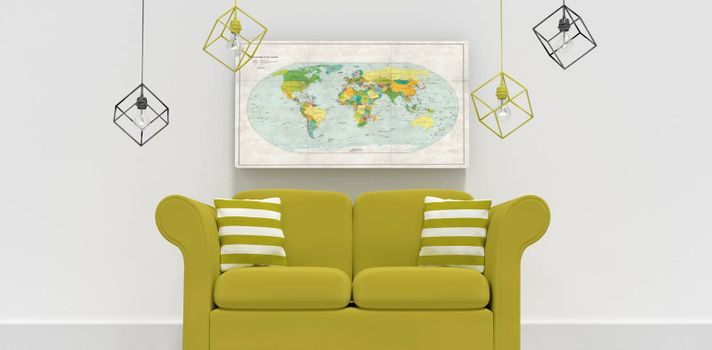 Composite image of 3d illustration of green sofa with cushions