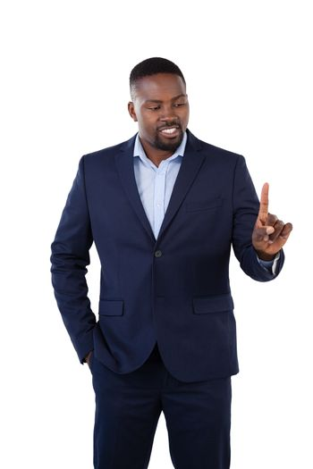 Classy businessman pointing his finger while talking