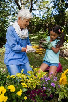 Grandmother and granddaughter planting seedling