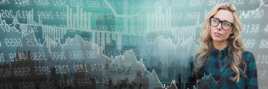 Thinking woman with stock exchange economic graphics transition