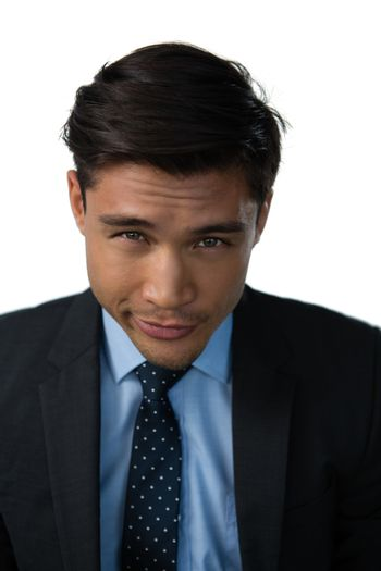 Close up portrait of businessman with black hair