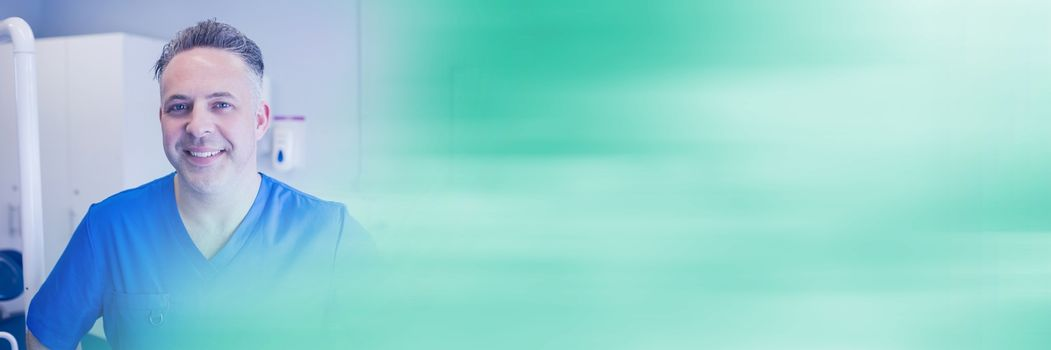 Digital composite of Dentist smiling and blurry teal transition