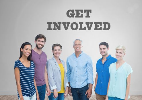 Group of people standing in front of Get Involved graphics