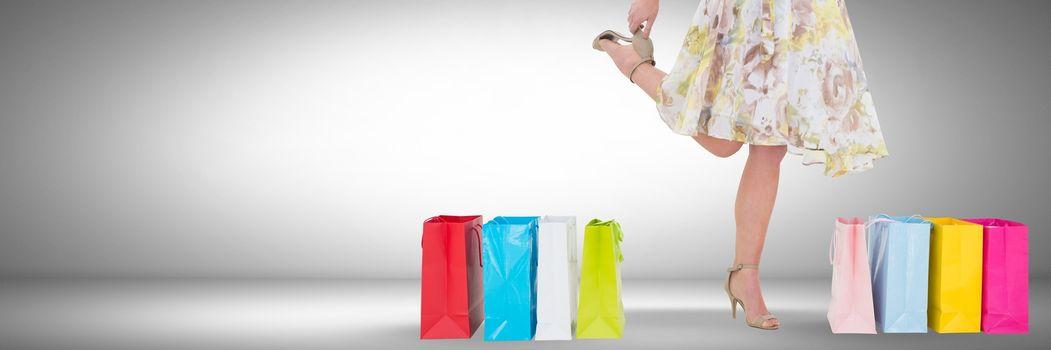 Woman Shopping joyfully with vignette