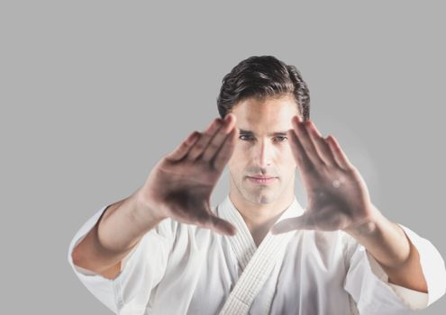 Portrait of martial arts Man with grey background