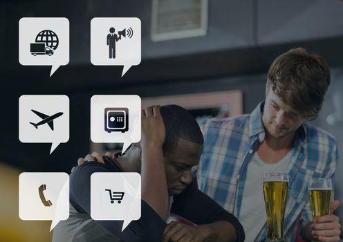 Icons against pub background