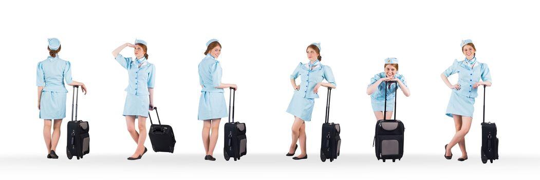 Stewardess holding baggage collage