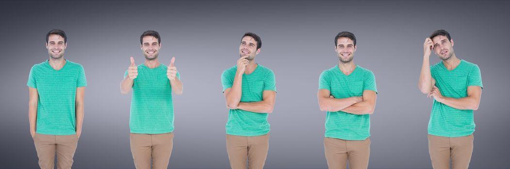 Man expressing feelings collage against purple backgorund