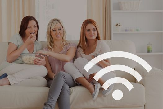 Wi-Fi icon against friends photo