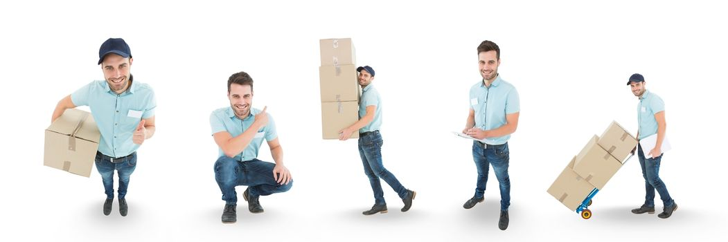 Courier man collage