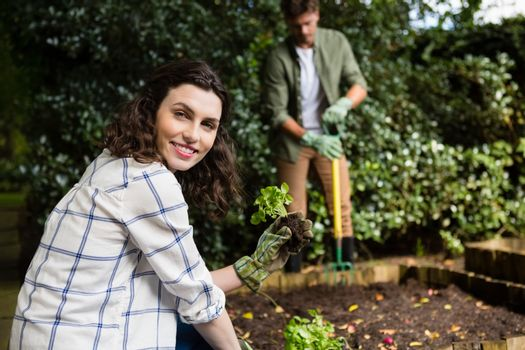 Smiling woman holding sapling plant in garden