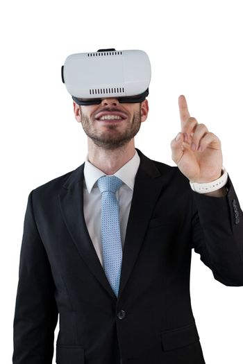 Happy businessman with vr glasses
