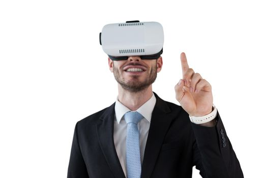 Smiling businessman with vr glasses
