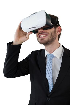 Businessman holding vr glasses